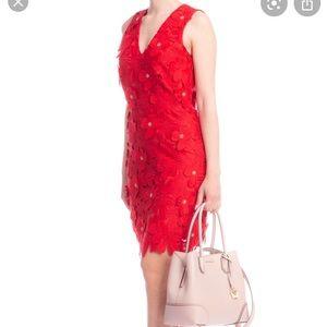 MICHAEL KORS RED MID LENGTH COCKTAIL DRESS FLOWER